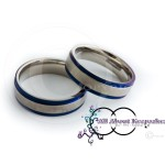 KR 409-Silver textured centre with Blue Rim and Comfort Fit 6mm wide band, crafted from 316 Grade Stainless Steel