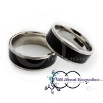 KR 257-Black textured centre with Silver Band Rim and Comfort Fit 8mm wide band, crafted from 316 Grade Stainless Steel