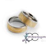 KR 256 - Gold textured centre with Silver Band Rim and Comfort Fit 8mm wide band,crafted from 316 Grade Stainless Steel