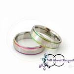 KR 283-Silver textured centre with Rainbow Rim and Comfort Fit 6mm wide band, crafted from 316 Grade Stainless Steel