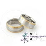 KR 226-Silver textured centre with Gold Band Rim and Comfort Fit 8mm wide band, crafted from 316 Grade Stainless Steel